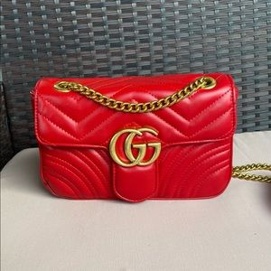 Gucci Marmont Red Leather Cross-body Bag